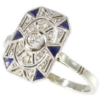 French Art Deco diamond and sapphire ring 18K white gold and platinum