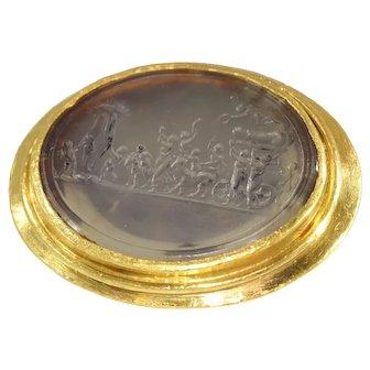 """+18K Gold 18th Century erotic intaglio ring """"The triumph of Priapus"""""""