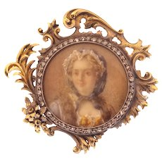 French Victorian Brooch Painted Miniature of Madame de Pompadour in Gold Frame