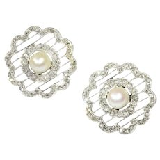 Vintage Earrings Dutch Edwardian Platinum Set with 112 Rose Cuts and a Pearl, 1920s