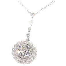 Platinum Art Deco 1.80 Carat Diamond Pendant on Necklace, 1920s