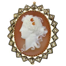 Victorian Hard Stone Cameo in Gold Mounting with Half Seed Pearls Black Enamel, 1870s