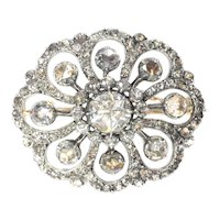 Typical Dutch Antique Rose Cut Diamond Jewel Brooch, 1860s