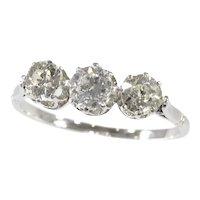 Art Deco Platinum 3-Stone Engagement Inline Ring with Diamonds, 1920s