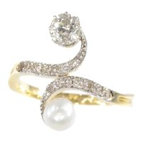 Elegant Belle Epoque Diamond and Pearl Engagement Ring so Called Toi et Moi, 1904s