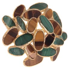Vintage Sixties Pop-Art 18K Gold Brooch set with Malachite and Tiger Eye, 1960s