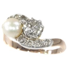 Victorian Diamond and Pearl Engagement Ring So-Called Romantic Toi et Moi, 1890s