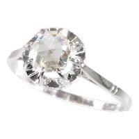 Vintage Art Deco Platinum Diamond Engagement Ring with Large Rose Cut Diamond, 1920s