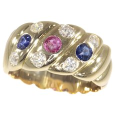 Antique 18K Gold Victorian Diamond Sapphire and Ruby Engagement Ring, 1880s