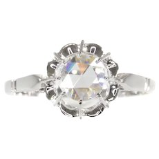 Vintage Art Deco Large Rose Cut Diamond Engagement Ring Also Called Solitair, 1920s
