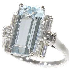 Vintage Fifties Design White Gold Engagement Ring with A Big Aquamarine and Diamonds