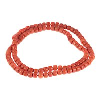 Antique 108 Blood Coral Long Necklace with Thick Beads, 1900s