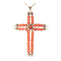 Antique Victorian 18 Karat Rose Gold Cross with Blood Coral Beads, 1870s