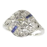 Original Vintage Art Deco Diamond and Sapphire Engagement Ring, 1920s - FREE Resizing*