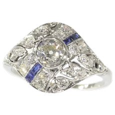 Original Vintage Art Deco Engagement Ring White Gold With Diamonds and Sapphires, 1920s