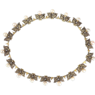 Signed Mario Buccellati Vintage Fifties Gold and Silver Pearl Neck Jewel Necklace with Grape Leaf Motive, 1950s