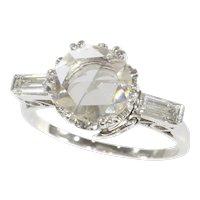 Vintage Fifties Large Rose Cut Diamond Platinum Engagement Ring Art Deco Inspired, 1950s - FREE Resizing*
