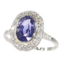 French Vintage Fifties Art Deco Platinum Diamond Sapphire Engagement Ring, 1950s