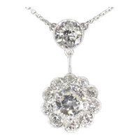 Large Art Deco Diamond Pendant with Total 4.27 Crt Brilliant Cut Diamonds, 1950s