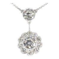 Large Art Deco Diamond Pendant with Total 4.27 Carat Brilliant Cut Diamonds, 1950s
