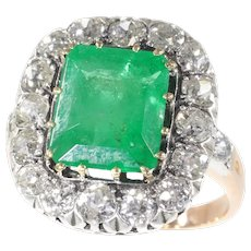 Victorian Engagement Ring with Brilliant Cut Diamonds and Large Certified Emerald, 1870s
