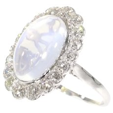Vintage Platinum Diamond Engagement Ring with Magnificent Moonstone, 1950s