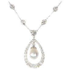 Platinum Art Deco Diamond Necklace with Natural Drop Pearl of 7 Carat, 1930s