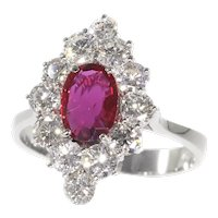 Vintage 1970's Engagement Ring with Beautiful Natural Ruby and Set With 12 Brilliant Cut Diamonds