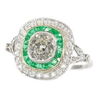 Stunning Vintage Art Deco Style Large Diamond and Emerald Engagement Ring, 1930s - FREE Resizing*