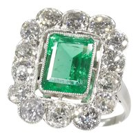 Vintage Fifties Platinum Diamond Engagement Ring with Certified 2.20 Carat Untreated Natural Emerald, 1950s - FREE Resizing*