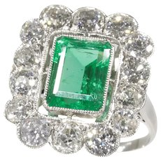 Vintage Fifties Platinum Diamond Engagement Ring with Certified 2.20 Carat Untreated Natural Emerald