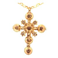 18th Century Antique Gold Cross with Table Cut Diamonds, 1730s