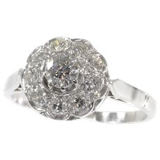 Vintage Fifties Platinum Engagement Ring With Brilliant Cut Diamonds