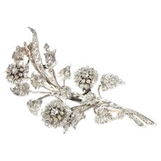 Antique French Diamond Branch Brooch with 165 Diamonds, 1870s