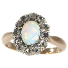 Victorian Rose Cut Diamond Engagement Ring set with Nice Cabochon Opal, 1890s