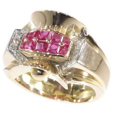 Original Vintage Retro Ring with Rubies and Diamonds, 1945s