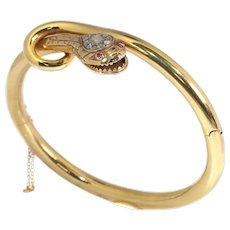 Antique Gold Snake Bangle Set with Diamonds and Rubies, 1880s