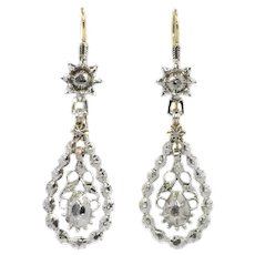 Antique Flemish Diamond Long Pendent Earrings Late Georgian, Early Victorian Period, 1840s