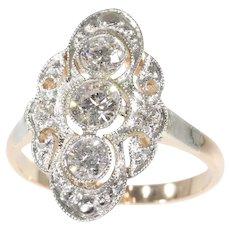 Vintage Diamond 14 Karat Gold Engagement Ring, 1950s