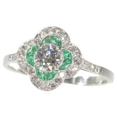 Art Deco Certified Diamond and Emerald Engagement Ring, 1930s - FREE Resizing*