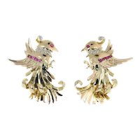 Vintage Retro 18 Karat Gold Diamond and Ruby Earrings Clips, 1950s