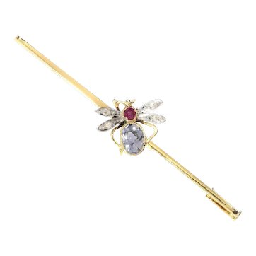Vintage Bar Brooch with Insect set with Ruby, Sapphire and Rose Cut Diamonds, 1930s