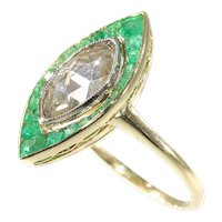Art Deco Vintage Engagement Ring Large Marquise Rose Cut Diamond and Emeralds, 1920s - FREE Resizing*