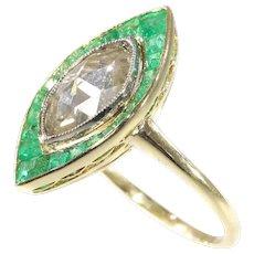 Art Deco Vintage Engagement Ring Large Marquise Rose Cut Diamond and Emeralds, 1920s - FREE Resizing*