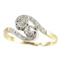 Romantic Toi et Moi Engagement Ring From Belle Epoque Era, 1900s - FREE Resizing*