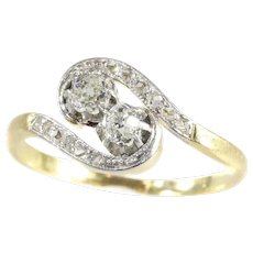 Romantic Toi et Moi Engagement Ring From Belle Epoque Era, 1900s - FREE Resizing*