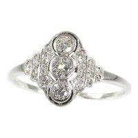 Vintage Art Deco Interbellum Diamond Engagement Ring, 1930s - FREE Resizing*