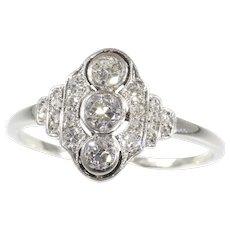 Vintage Art Deco Interbellum Diamond Engagement Ring, 1930s - FREE Resizing*