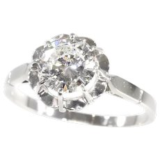 Vintage 1950s Brilliant Engagement Ring with Certified D-Colour Diamond, 1950s - FREE Resizing*