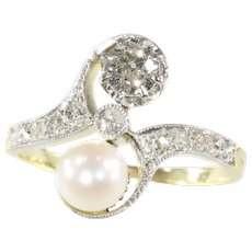 Belle Epoque Diamond and Pearl Engagement Ring - Model Toi et Moi, 1900s - FREE Resizing*